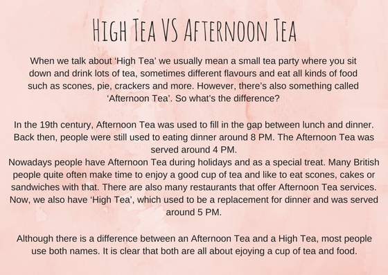 High tea vs afternoon tea